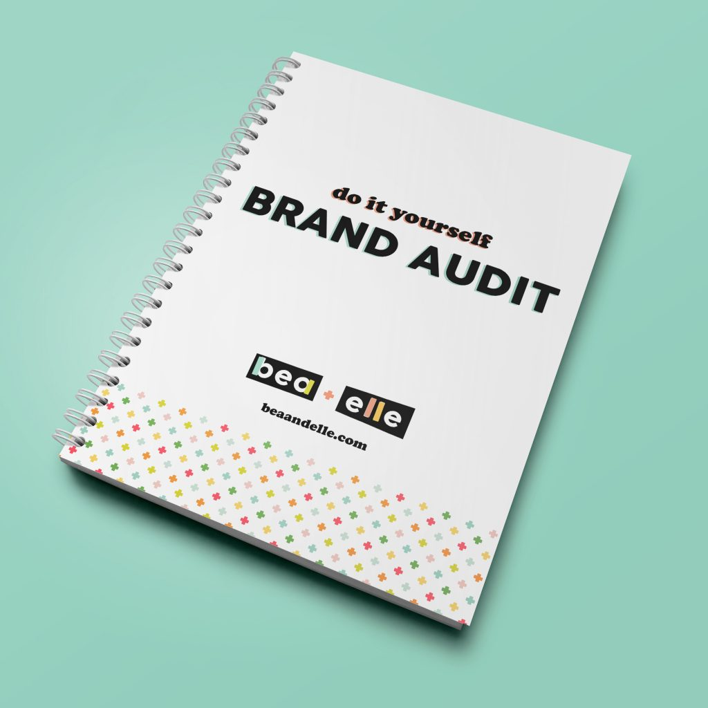 Brand Elements by popular top US graphic and web designers for small businesses, Bea and Elle: Pinterest image of a do it yourself brand audit notebook.
