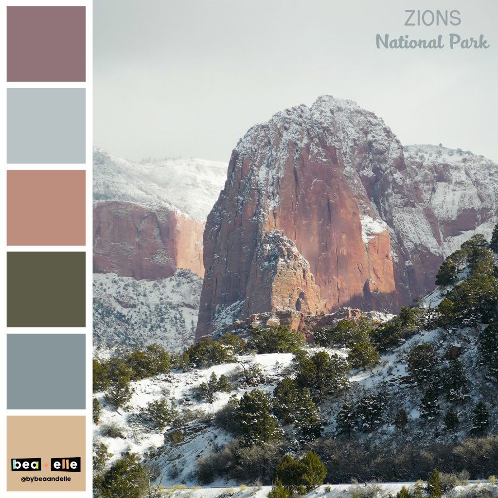 Color Palette Inspiration by top US graphic and web designers for small businesses, Bea and Elle: image of Zions national park and a coordinating color palette of pink, tan, green, and blue.