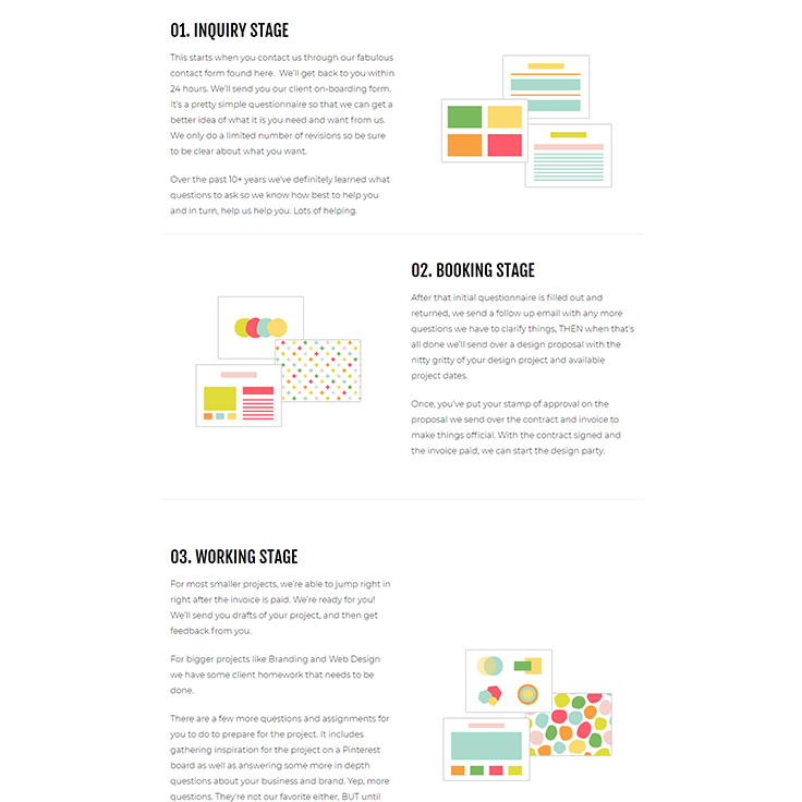 Branding Professional by popular US graphic and web designers for small businesses, Bea and Elle: image of branding professional stages.