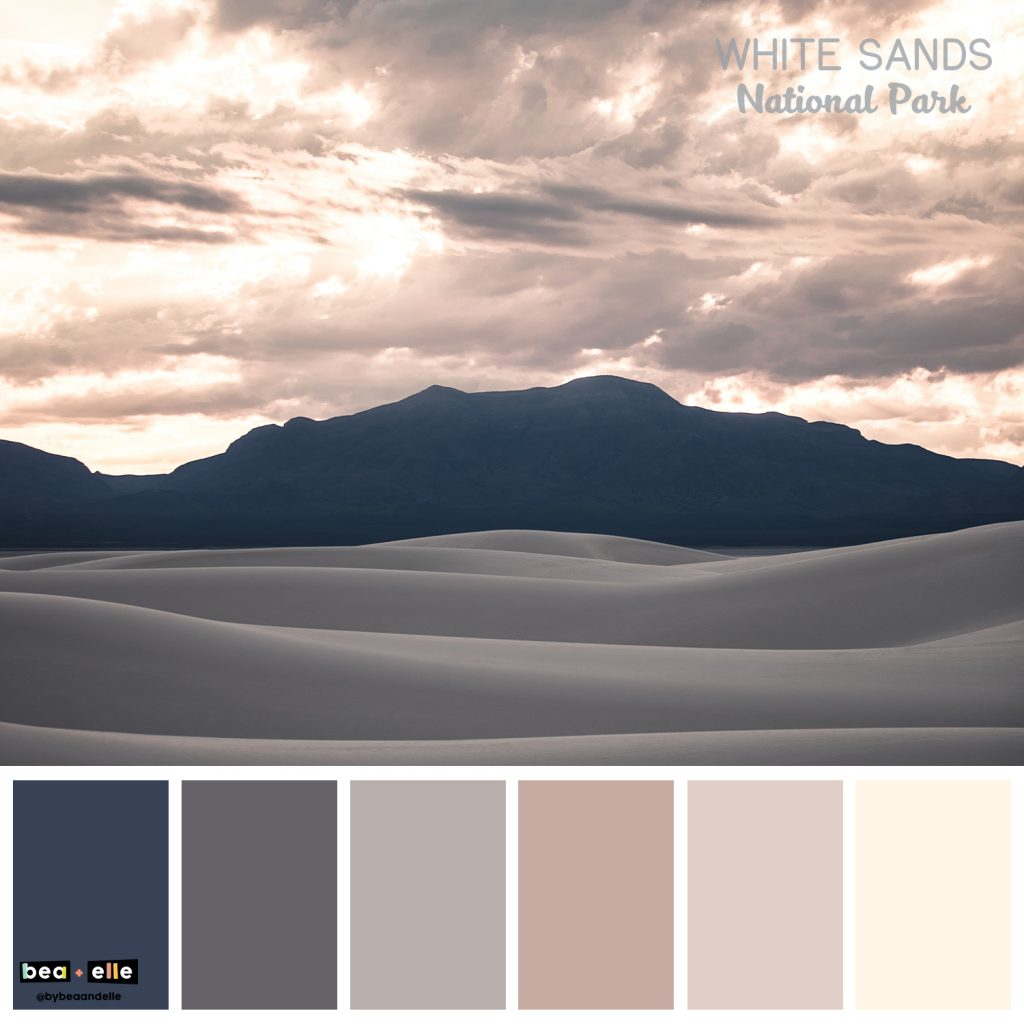 Color Palette Inspiration by top US graphic and web designers for small businesses, Bea and Elle: image of White Sands national park and a coordinating color palette of blue, grey, tan, and cream.