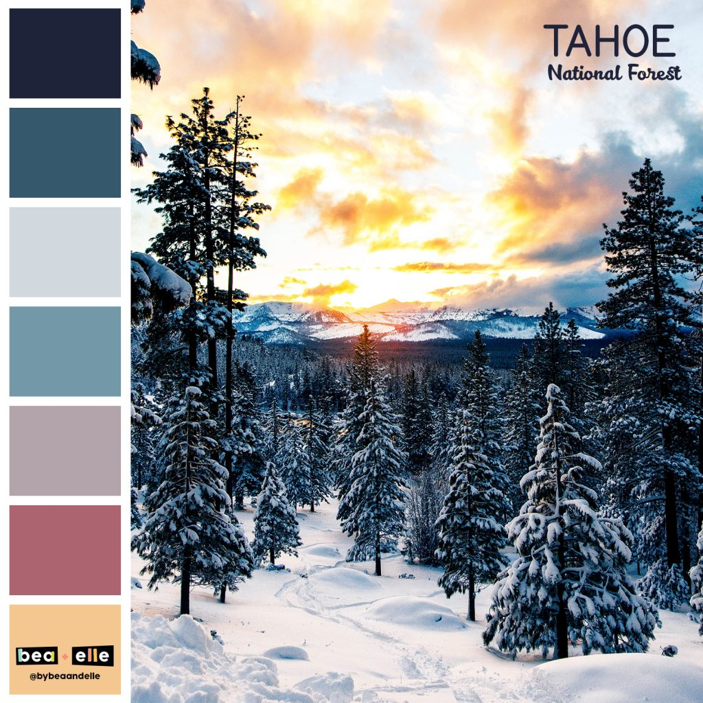 Color Palette Inspiration by top US graphic and web designers for small businesses, Bea and Elle: image of Tahoe national park and a coordinating color palette of blues, pinks, and yellows.